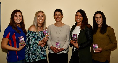 """""""A"""" Grade Team of the Year Adele Francis (WD), Paige Lloyd (Reserve Attack), Kimberly McGorman (GK), Taylee Healy (GD), Terry Hawthorne (C)"""