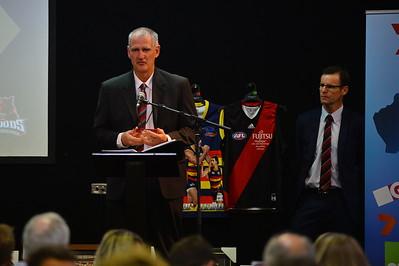 West Adelaide Coach, Mark Mickan announcing The Corey Siemers Memorial Award winner, William Gutsche (Loxton)