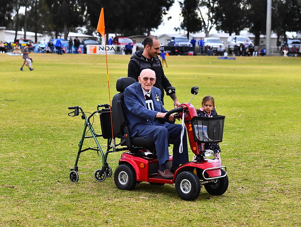 """""""A"""" Grade coin toss for 110 year celebrations by oldest WFC Life Member Stan Burnett"""