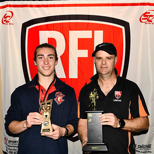 """""""U18"""" Best & Fairest Award, along with the """"Graham Charlton Perpetual Trophy"""" awarded to Adam Westley  (Berri Football Club ) by Todd Charlton"""