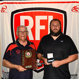 Contribution to Riverland Junior Football Award presented to Michael Scordo  by Adelaide Crows Supporters Group President, Peter Marks.
