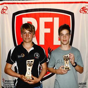 """U13"" Best & Fairest winner, Malachi Lloyd (Waikerie Magpies Fc ) with Runner-Up, Lucas White (Renmark Rovers Football Club )"