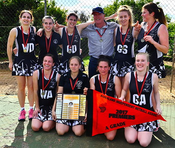 Back row: Julianne Fiebig, Emily Schultz, Kimberley McGorman (captain), Peter Graetz (coach), Katie Day, Sam Baker (best on court)