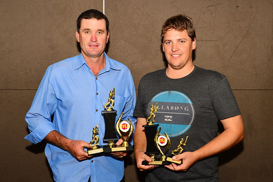 "RTCA ""A"" Grade Batting Average winner Michael Gutsche (Loxton) on the left with  Batting Aggregate winner, Jake Albrecht (Loxton)"