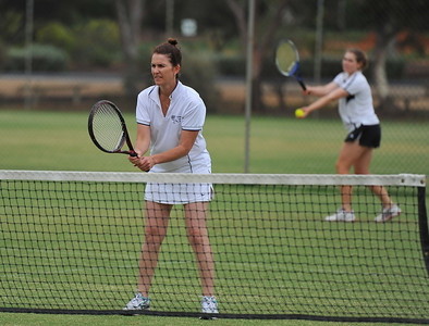 Penny Kroehn( Waikerie) waits as Jess Smith (Waikerie) prepares to serve
