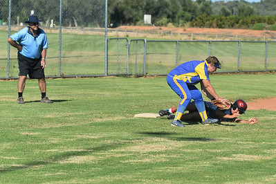 Austin Karpany (Berri) slides safely into 3rd base  as Jodie Sullivan (Cobby) takes the ball
