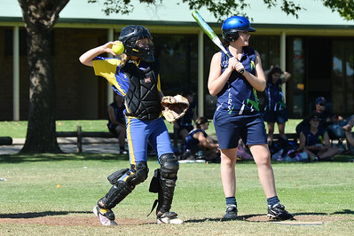 Jess Voigt (Loxton) at bat, Chloe Passmore (Cobby) catching