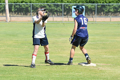 Tyler Flood (Loxton) safe at 2nd as Naomi Taylor (Berri) takes the ball.