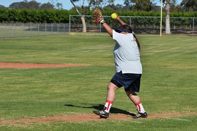Vikkie Taylor (Berri)prepares to pitch