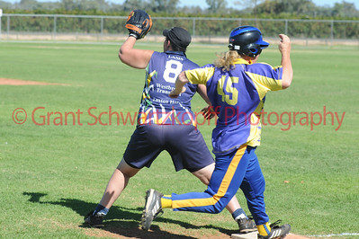 Jo Gregory (Cobby) touches 1st base just as the ball comes in to the glove of Kellie Holland (Loxton)