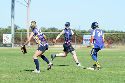 Rachel wagner (Loxton ) number 13 and Amy Lidgerwood (Loxton)  wait for ball as Cobby player touches 2nd base