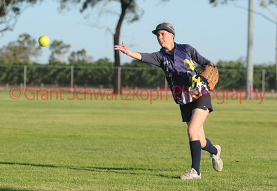 Rachel Wagner (Lox Blue) shoots in a quick return to 1st base.