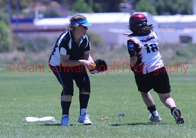 Haylee Kuchel (Waikerie) tagged out on 2nd base by Jodie Meredith (Loxton Green)