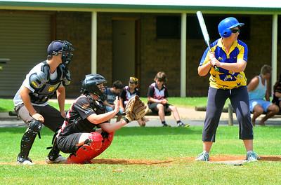 Dee Stocker (Cobby) batting with Sarah Schiller (Waikerie) catching. Jason Cuthbertson umpire