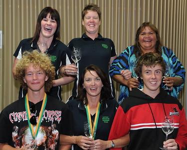2011/2012 TEAM OF THE YEAR back l to r Amy Lidgerwood, Hayley Symons, Vikki Taylor, front l to r Jason Geddie, Cara Venning, Tyson Renshaw