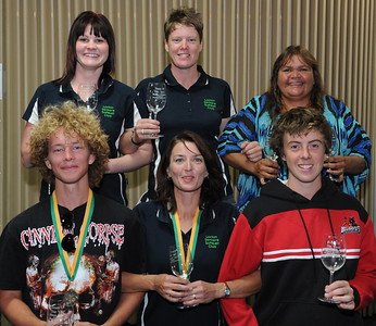 2011/2012 TEAM OF THE YEAR back l to r  Amy Lidgerwood, Hayley Symons, Vikki Taylor, front l to r  Jason Geddie, Cara Venning, Tyson Renshaw