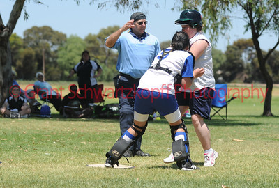 Michelle Bradtke (Loxton Green) out at home plate by Loren Selfe (Renmark)