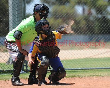 The dust is smacked out of the glove by a fast pitch from Jo Gregory. Naomi Taylor (Cobby Blue) catcher.