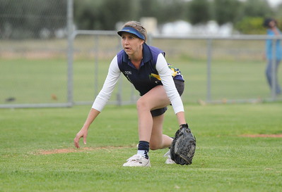 Rachel Wagner (Loxton) ready at 3rd base for the drive.
