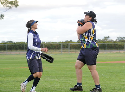 Infield catch by Kellie Holland (Loxton) Cara Venning (Loxton) looks on