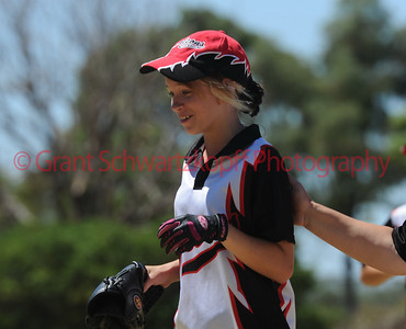 Hayley Kuchel (Waikerie) gets a pat on the back  after taking a great outfield catch