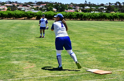 Angela McCann (Renmark) makes the out at 1st