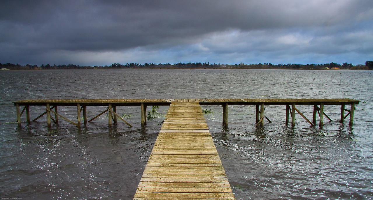 Water returns to dry lake, Ballarat, Australia.