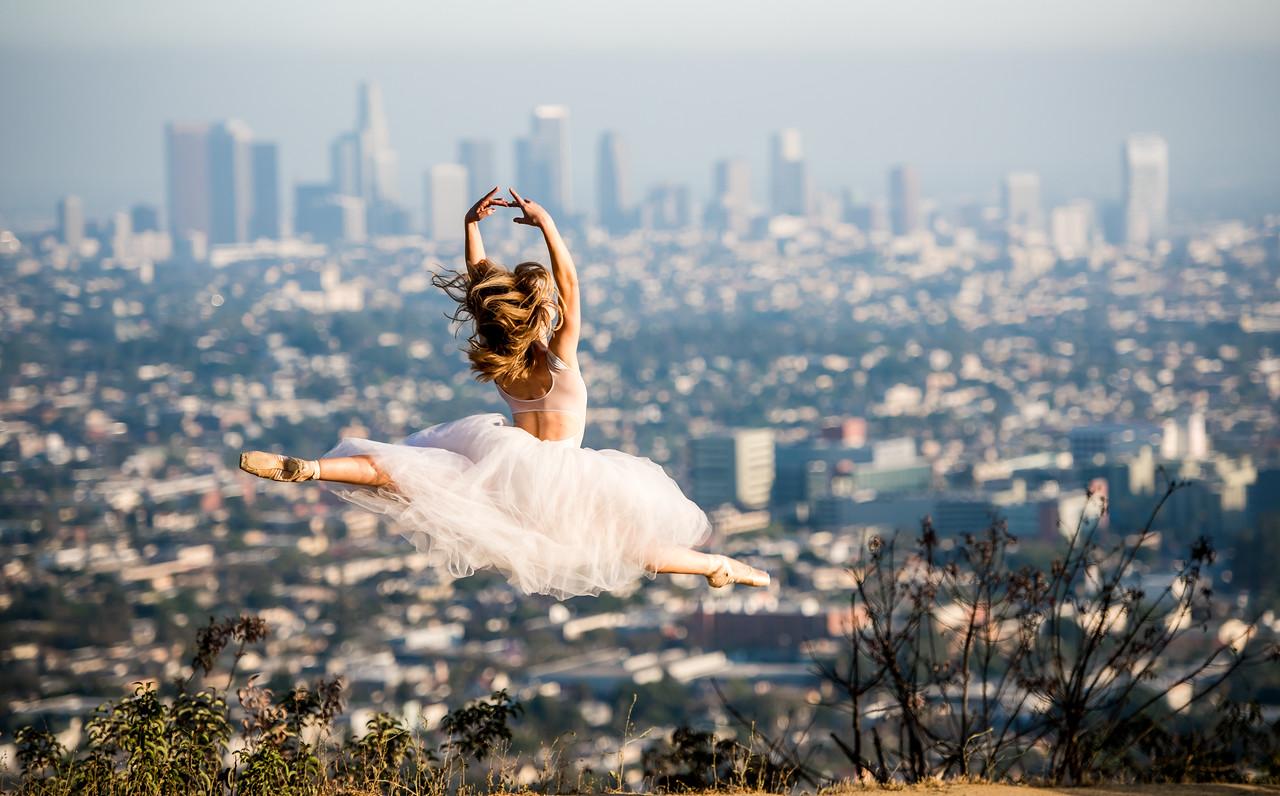 Nikon D810 Photos Flying Ballerina!  Tiny Dancer/Beautiful Ballet Dancer flying over Los Angeles!