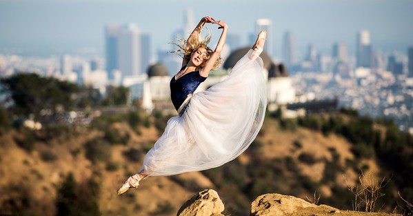 Nikon D810 Photos of Ballerina Dance Goddess Photos!  Jete over Griffith Observatory & the LA Skyline! Pretty, Tall Ballet Ballet Goddess Captured with the Nikon 70-200mm f/2.8G ED VR II AF-S Nikkor Zoom Lens !