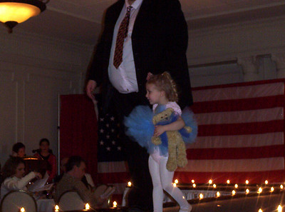 Rachel with her matching bear in the American Girl Fashion Show's Bitty Bear Ballet.