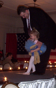 Rachel and Daddy on the runway of the Junior League's American Girl Fashion Show. Rachel was a part of the Bitty Bear Ballet.