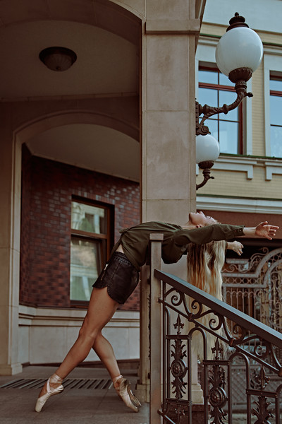 Ballet in the city. Beautiful portrait of the young bellerina