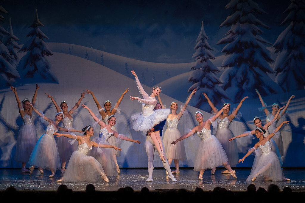 Final pose from Ballet America's Land of the Snow surrounding Aurora Frey as Snow Queen.