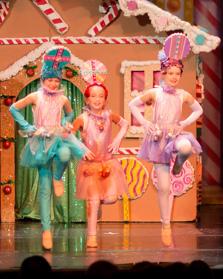 Rowan Fox, Melanie Anderson, and Jacqueline Dugan as Lollies in the Gingebread Scene.