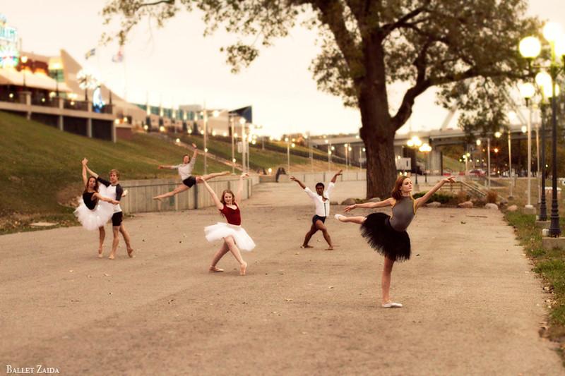 Dancers from left to right - Sara Hays, Travis Guerin, Stephen Jacobsen, Erin Crall, Tony Sewer, & Nicole Voris.<br /> <br /> Location - Cincinnati, Ohio.<br /> <br /> © 2011 Oliver Endahl