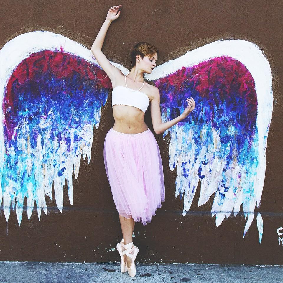 "Affinity - Nicole Voris. <br /> <br /> Mural - Colette Miller. ""The Global Wings Project""<br /> <br /> Location - Los Angeles, California.<br /> <br /> Ballet Zaida is on Instagram. Username: BalletZaida"