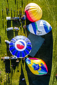 Overhead Aerial Balloons Inflating