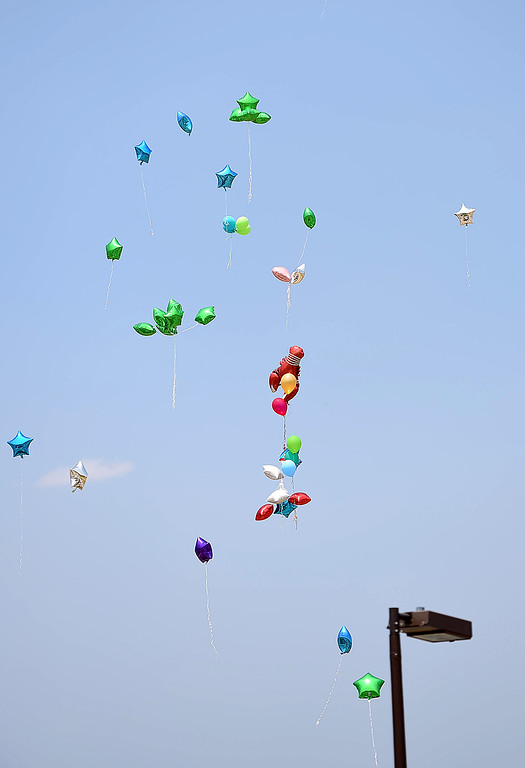 . Balloons float into the sky after Gavin Myers\' friends and family released them in his memory Monday, July 2, 2018, at the skate park at Mehaffey Park in Loveland. Gavin, a 13 year-old who was killed when he was struck by a pick-up truck on June 8, spent countless hours at the skate park scootering with his friends.  (Photo by Jenny Sparks/Loveland Reporter-Herald)