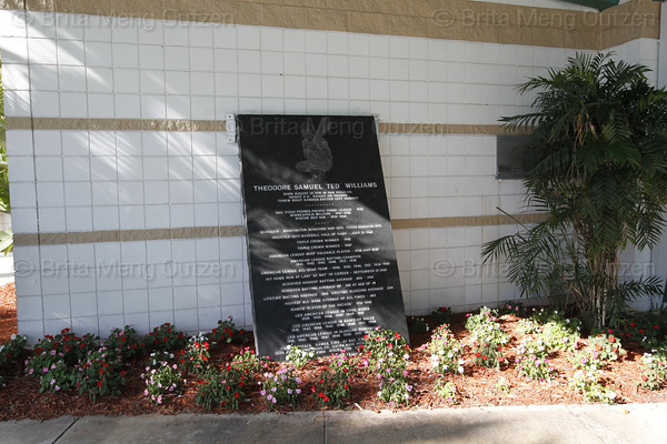 FORT MYERS, FL, March 9, 2011: A plaque detailing the accomplishments of Boston Red Sox Hall of Famer Ted Williams stands near the entrance to City of Palms Park. (Brita Meng Outzen/Boston Red Sox)