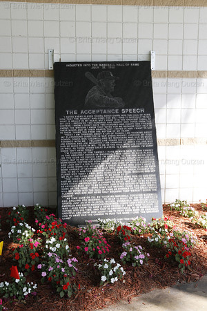FORT MYERS, FL, March 9, 2011: A plaque near the entrance to City of Palms Park contains the text of Ted Williams' acceptance speech when he was inducted into the Baseball Hall of  Fame in Cooperstown. (Brita Meng Outzen/Boston Red Sox)