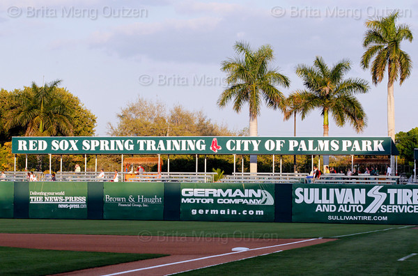 FORT MYERS, FL, Feb. 26, 2011: Baseball fans enter the City of Palms Park for the nightcap of the Boston Red Sox exhibition doubleheader against Northeastern University. <br /> (Brita Meng Outzen/Boston Red Sox)