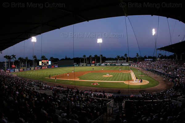 FORT MYERS, FL, March 26, 2011: Boston Red Sox pitcher Daisuke Matsuzaka follows through on a pitch to a Minnesota Twins batter during the final night game at City of Palms Park. (Brita Meng Outzen/Boston Red Sox)