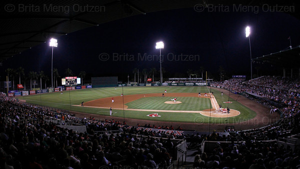 FORT MYERS, FL, March 25, 2011: The Boston Red Sox play the Toronto Blue Jays under the lights at City of Palms Park. (Brita Meng Outzen/Boston Red Sox)