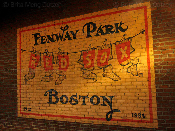 BOSTON, September 14, 2008: A reproduction of an old sign is painted on the brick wall inside Fenway Park. (Photo by Brita Meng Outzen/MLB.com)