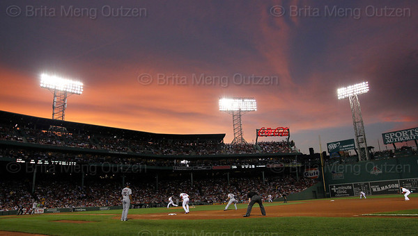 BOSTON, Aug. 1, 2011 -- The sun sets over Fenway Park as the Boston Red Sox play the Cleveland Indians in the first game of a four-game set. (Brita Meng Outzen/Boston Red Sox)