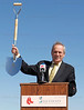 March 4, 2011, Fort Myers, Fla.: Boston Red Sox president and CEO Larry Lucchino holds up an engraved shovel presented to members of the Lee County Board of Commissioners chairman Frank Mann during the ceremony celebrating the construction of the new Red Sox Spring Training Ballpark and Player Development Complex in Fort Myers, Fla. (Brita Meng Outzen/Boston Red Sox)