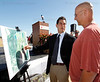 March 4, 2011, Fort Myers, Fla.: Boston Red Sox executive vice president/business affairs Jonathan Gilula (left) points out areas of the new Red Sox Spring Training Ballpark and Player Development Complex under construction on a site map to Red Sox manager Terry Francona before a ceremony celebrating its construction in Fort Myers (Brita Meng Outzen/Boston Red Sox)