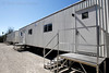 Feb. 13, 2011, Fort Myers, FL: Temporary trailers provide media work space during spring training workouts at the standalone player development complex on Edison Avenue. (Brita Meng Outzen/Boston Red Sox)