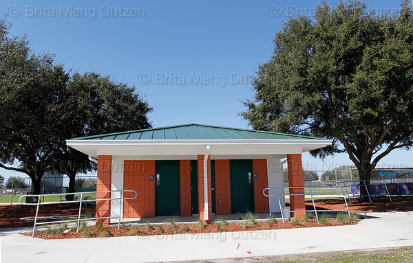 Feb. 14, 2011, Fort Myers, FL: Permanent restrooms make their first appearance in the final year of Boston Red Sox spring training workouts at the standalone player development complex on Edison Avenue. (Brita Meng Outzen/Boston Red Sox)