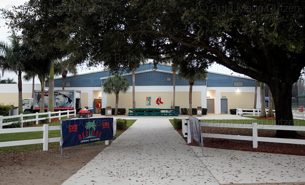 Feb. 25, 2011, Fort Myers, FL: The main walkway runs between the Boston Red Sox clubhouse and media area and Fields 2, 3, 4, 5 and the bullpen areas at the standalone player development complex on Edison Avenue. (Brita Meng Outzen/Boston Red Sox)